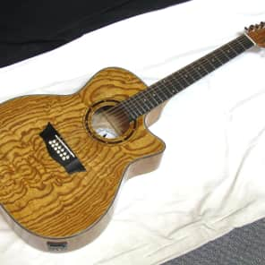 DEAN Exotica Quilt Ash EQA 12-STRING acoustic electric GUITAR - DMT Preamp - NEW for sale