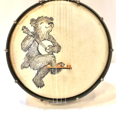 Sterling vintage banjolele banjo ukulele with a painted bear on it  Banjo bear 1930s Maple