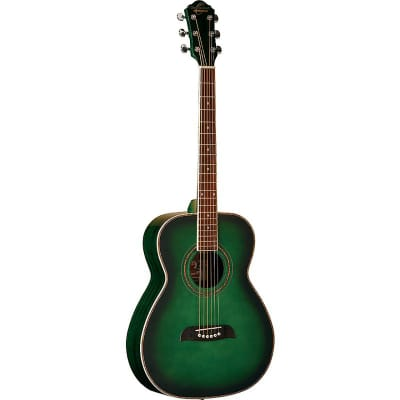 Oscar Schmidt OF2TGR Folk Acoustic Guitar, Trans Green for sale