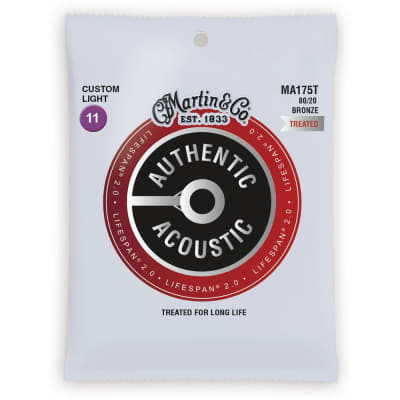 Martin MA175T Lifespan 80/20 Bronze Acoustic Guitar Strings - Custom Light 11-52