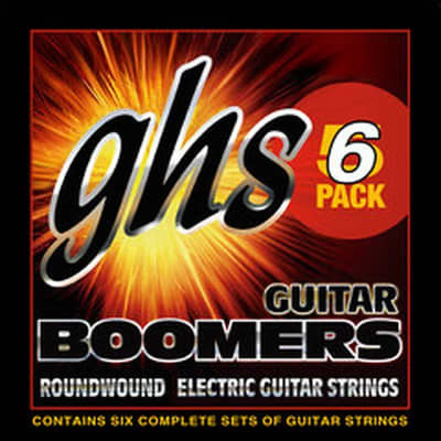 GHS Boomers Guitar Strings 6-Packs Roundwound Electric Extra Light 09-42