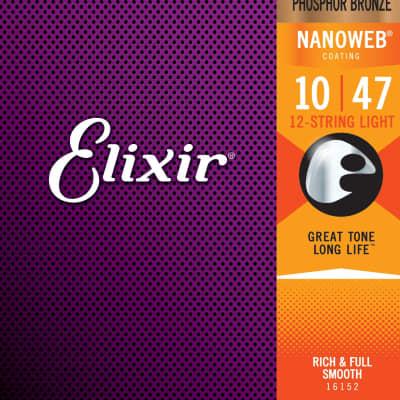 Elixir Strings 16002 Acoustic Phosphor Bronze w/Nanoweb Coating Light