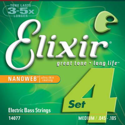 Elixir Medium Nanoweb 4-String Bass Strings 45-105