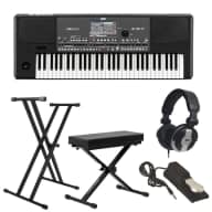 Korg PA600 61-Key Professional Arranger + Stand + Bench + Pedal + Headphones