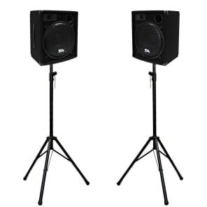 "Seismic Audio SA-15.2-PKG1 Passive 1x15"" 300w Speakers (Pair) w/ Tripod Stands"