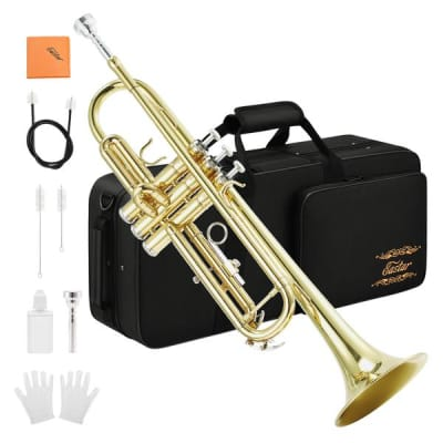 Trumpet Standard Bb Trumpet Set with 7C Mouthpiece, Gloves, Cloth, Valve Oil, Cleaning Suit and Case