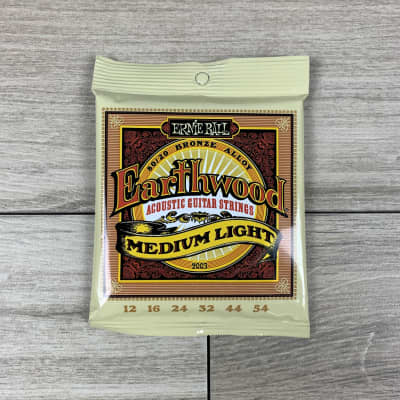 Ernie Ball Earthwood 80/20 Bronze Acoustic Guitar Strings, 12-54, Meduim Light