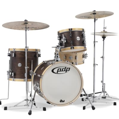 PDP Concept Classic 3-Piece Maple Bop Shell Pack, Walnut with Natural Hoops w/Chrome Hw image