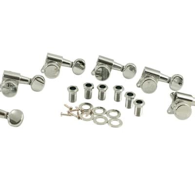 Kluson Locking Tuners - 6 in line, Oval metal button, Chrome KL-3805CL image