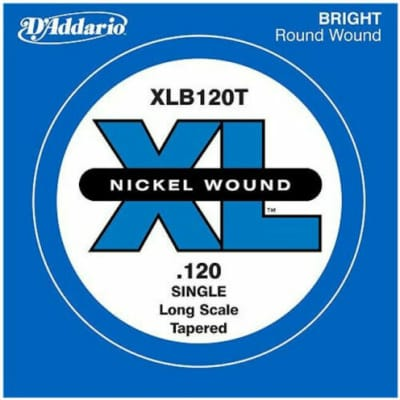 D'Addario XLB120T Nickel Wound Long Scale Single Bass Guitar String, .120, Tapered