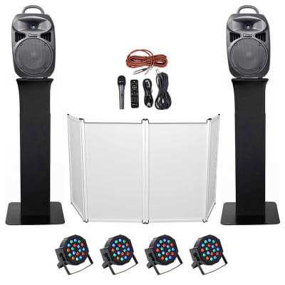 "DJ Package w/Dual 8"" Bluetooth Speakers+Mic+Tripod+Totem Stands+Facade+Lights"