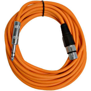 "Seismic Audio SATRXL-F25ORANGE XLR Female to 1/4"" TRS Male Patch Cable - 25'"