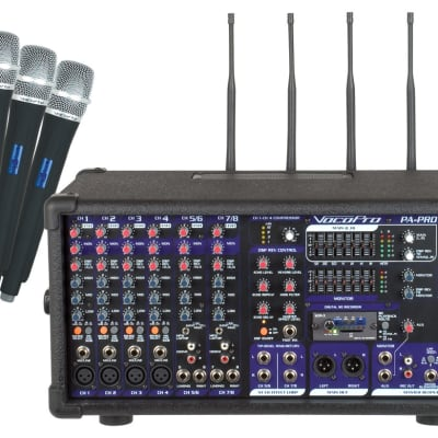 VocoPro PA-PRO 900-2 900W Professional P.A. Mixer with SDR-4 digital recorder and 4 wireless mics