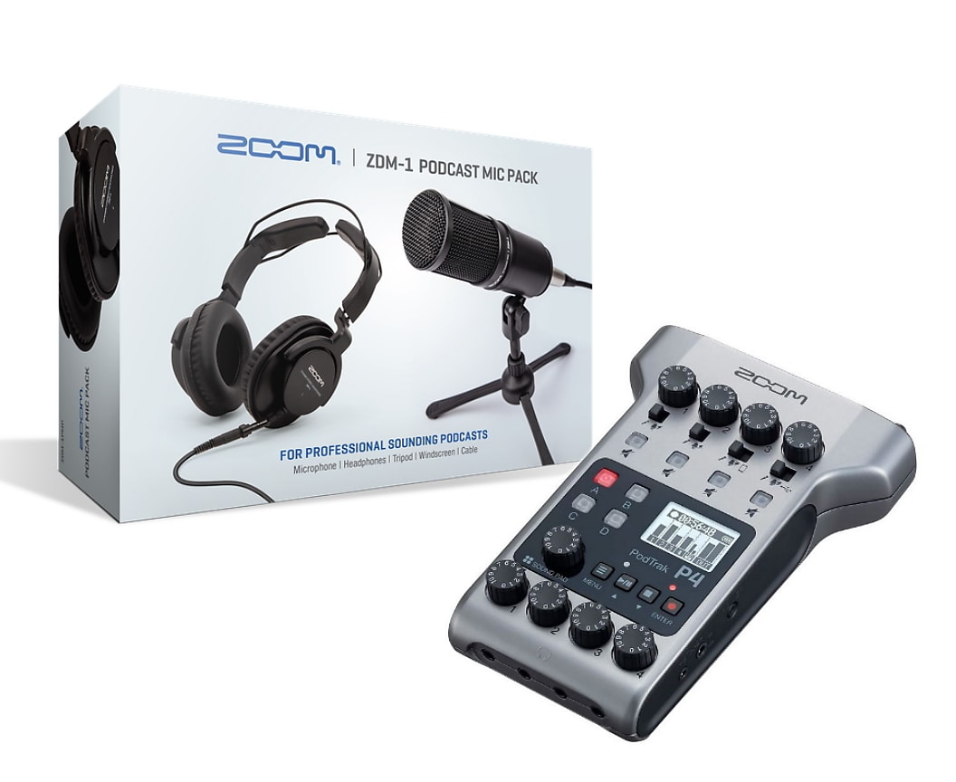 Zoom Podtrak P4 Podcast Studio Mixer/Recorder/USB Interface + ZDM-1 Microphone & Headphone Bundle
