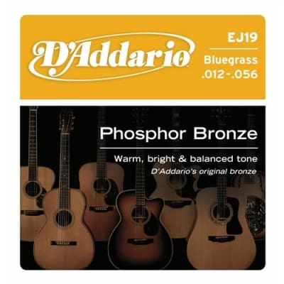D'Addario EJ19 Phosphor Bronze Acoustic Guitar Strings - Bluegrass 12-56