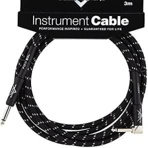 Fender Custom Shop BLACK TWEED Guitar Cable, Straight to Right-Angle, 10' ft for sale