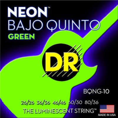 Dr Strings Bqng-10 Neon Green Bajo Quinto 10 String Set, Green 26/26, 36/36, 46/46, 60/30, 80/36