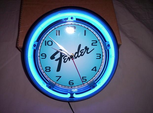 Fender Guitar Neon Clock Reverb