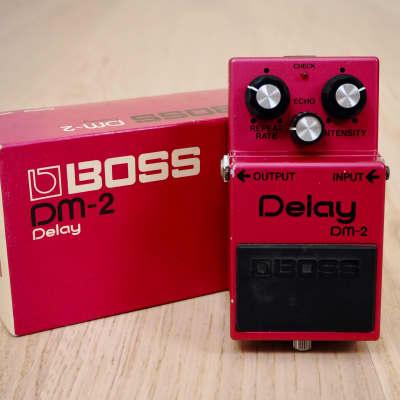 1981 Boss DM-2 Delay Vintage Analog Delay Guitar Effects Pedal Black Label Silver Screw Japan w/ Box