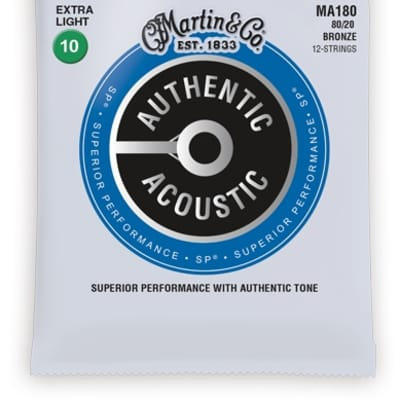 Martin MA180 Authentic Acoustic; Bronze, Extra Light 12 String, .010