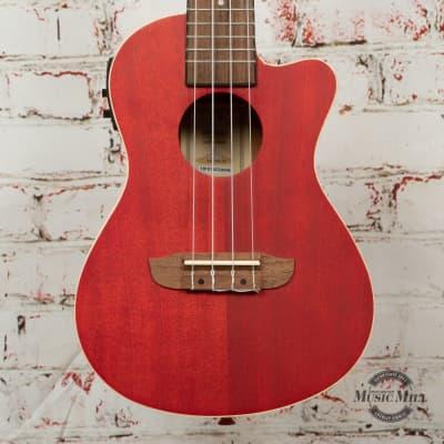 Ortega RUFIRE-CE E All Okoume Acoustic/Electric Concert Ukulele Red Satin x3BWN (USED) for sale