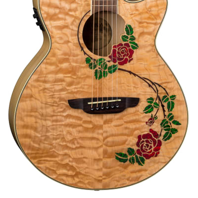 Luna FLO RSE Flora Rose Quilted Maple Cutaway Acoustic-Electric Guitar - Natural for sale