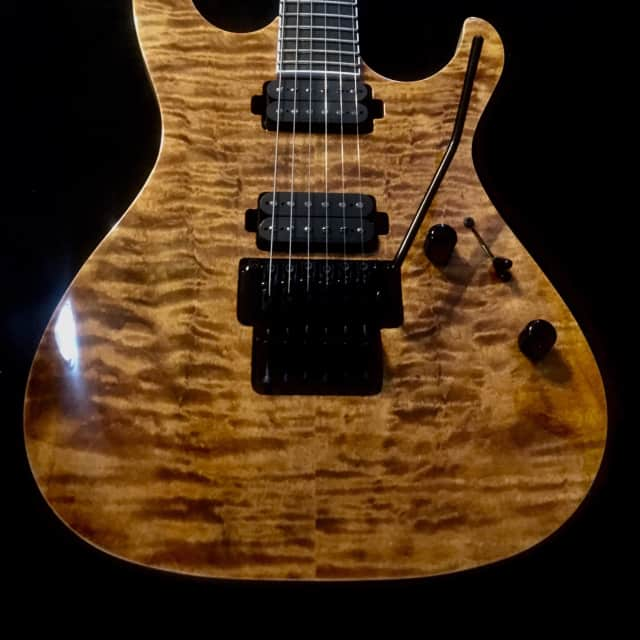 Vola Ares FR EA Yellow Tiger Eye Exotic Maple Top Guitar W/Floyd Rose Trem & Case Demo Video Inside image