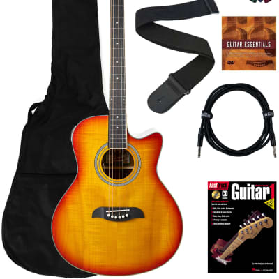Oscar Schmidt OA10CE Mini Auditorium Cutaway Acoustic-Electric Guitar - Spalted Maple Bundle with Gig Bag, Cable, Tuner, Strap, Picks, Book, DVD, and Austin Bazaar Polishing Cloth for sale