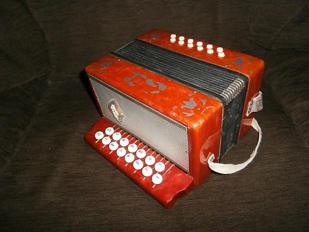 Vintage Russian Children button accordion bayan Harmonica Teza
