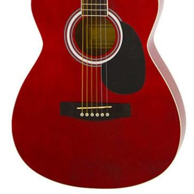 Aria AF-15 Folk Body Acoustic Guitar in Metallic Candy Apple Red for sale