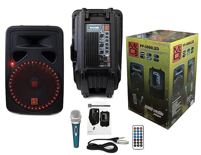 Mr Dj Pp3500led Portable 15 Quot 2 Way Active Speaker Reverb