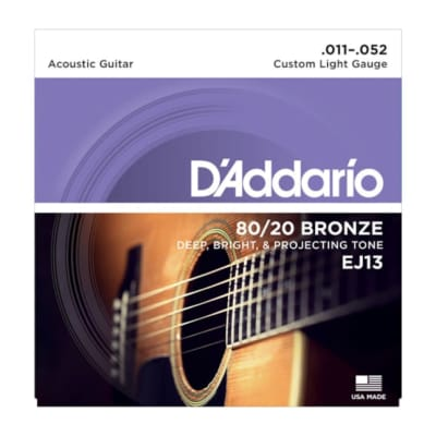 D'Addario 80/20 Bronze Acoustic Guitar Strings Custom Light 11-52