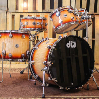 DW Collector's Red Burst Over Quilted Maple - 22,10,12,16,6.5x14 - SO#1134313