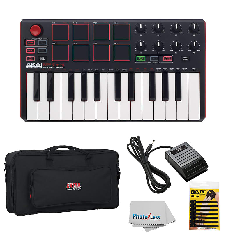 Akai MPK mini MKII 25- Key Compact Keyboard & Controller + Gator Bag +  Pedal + Cable Tie