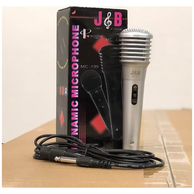 J B Vintage Economy Level Silver Microphone Hi Z With Cable Reverb