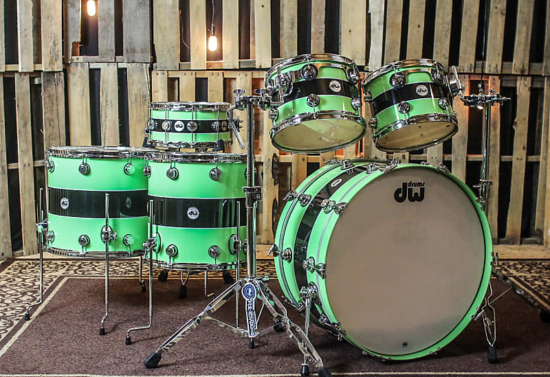 DW Collector's Black Rally Stripe Over Lime green Drum Set