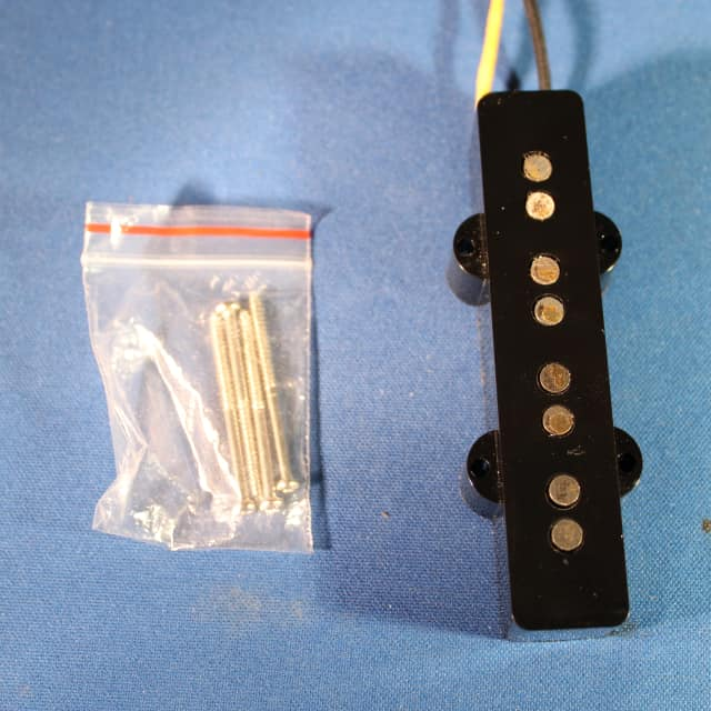 1990's Original Fender Jazz Bass Neck Pickup Black Bobbin New Wire New Cover New Screws image