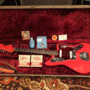 Vintage 1962 Fender Jaguar Fiesta Red Museum Con Electric Guitar w/ OHSC & Candy