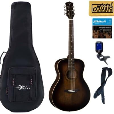 Luna ART V FOLK Art Vintage Folk Solid Top Acoustic Guitar, Soft Case Bundle