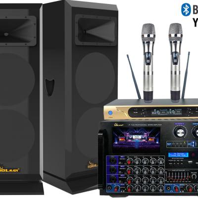 """""""IDOLmain 8000W Pro Mixing Amplifier W/ 3000W 12"""" Speakers and Dual Wireless Mics Karaoke System"""