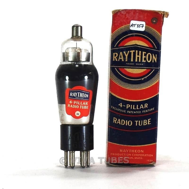 True NOS NIB Raytheon 4-Pillar 6D6 Silver/Gray Plate SMOKED ENGRAVED Vacuum  Tube