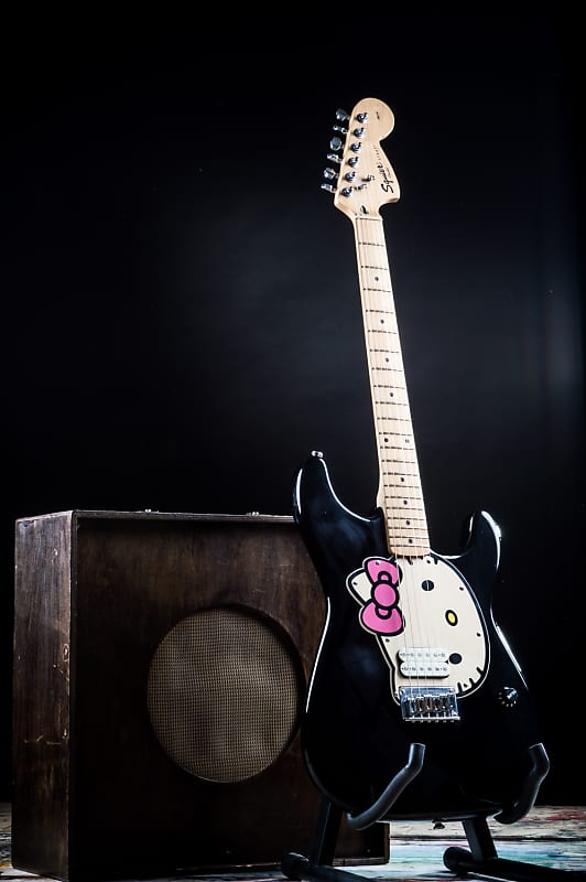 rare squier by fender hello kitty black stratocaster electric reverb. Black Bedroom Furniture Sets. Home Design Ideas