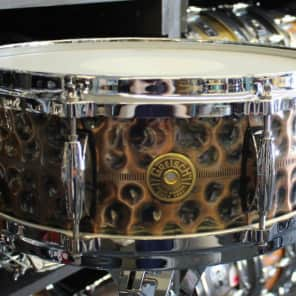 "Gretsch G4160HC USA Hammered Antique Copper 5x14"" 8-Lug Snare Drum"