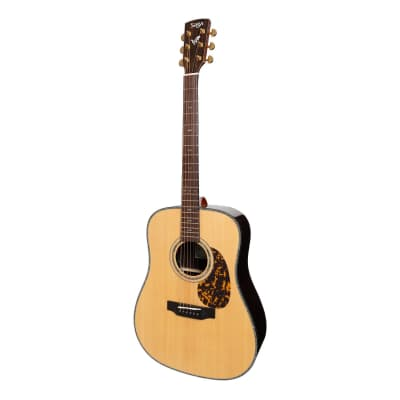 Saga DS20 Solid Spruce Top Acoustic-Electric Dreadnought Guitar (Natural Gloss) for sale