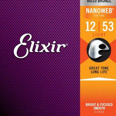 Elixir 11052 Nanoweb 80/20 Bronze Acoustic Guitar Strings - Light (12-53)