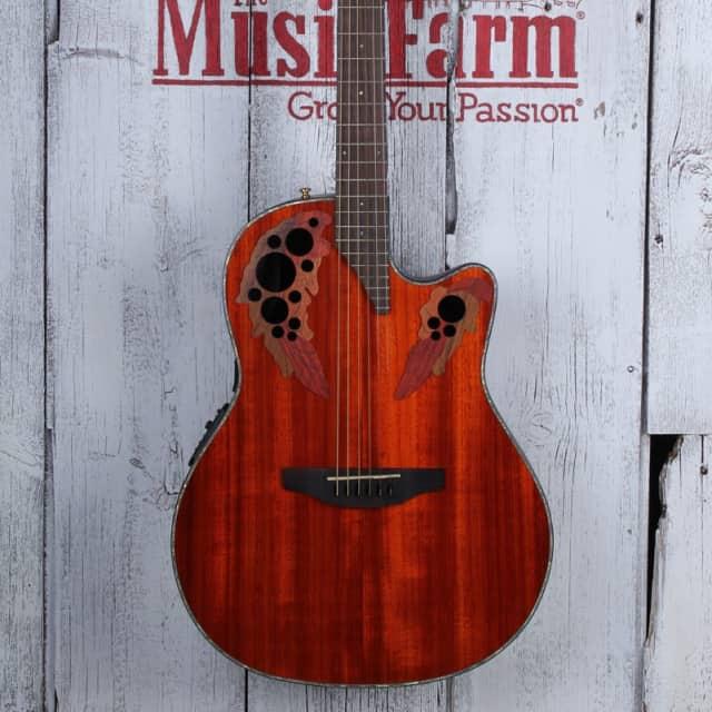 Ovation CE44P-PD Celebrity Elite Plus Padauk Mid Depth Acoustic Electric Guitar image