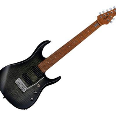 Sterling by Music Man JP15 7, Flame Maple Top, Trans Black Satin for sale