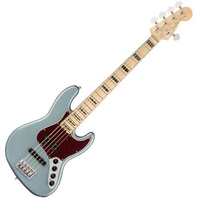 Fender American Elite Jazz Bass V - MN - Satin Ice Blue Metallic for sale