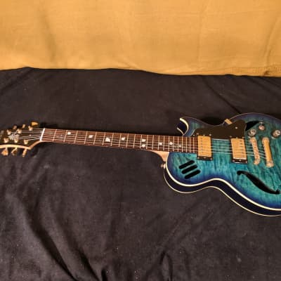 Pretty Galveston Semi Hollowbody Vine of Life Electric Guitar 2015 Quilted Blue for sale