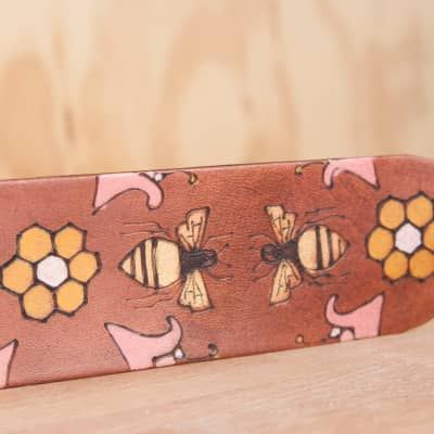 Ukulele Strap - Meadow pattern with bees and flowers by Moxie & Oliver